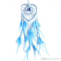 Wholesale Wooden Handmade Cars - Dream Catcher with Feather Wooden Bead Heart-shaped Handmade Indian Style Wall Home Decoration Ornament Car Pendant Lake Blue