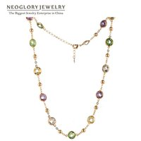 Wholesale Yellow Swarovski Crystal Necklace - 2017 Neoglory MADE WITH SWAROVSKI ELEMENTS Crystals Light Yellow Gold Color Choker Chain Maxi Long Necklaces For Women Gift