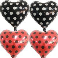 dot party supplies al por mayor-Ladybug Dot globos de la hoja del corazón 18 pulgadas 100 unids globos rojos y negros boda decoraciones de la fiesta de cumpleaños para niños suministros del aniversario
