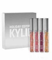 Wholesale Chrismas Angels - Kylie Jenner holiday collection 4pcs  set low price Chrismas Edition lip kit Gold Metal Matte lipstick noel blitzen angel free ship DHL