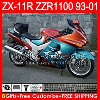 Wholesale Kawasaki Zx11 - 8Gifts For KAWASAKI NINJA ZX11 ZX11R 93 01 94 95 96 97 ZZR 1100 22NO32 ZZR1100 Orange cyan ZX-11R ZX-11 1993 1994 1995 1996 1997 Fairing Kit