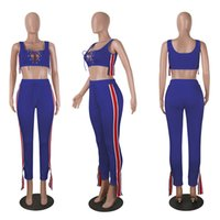 Wholesale Female Racing Suits - Sportswear Tracksuit for Women Jogging Costumes 2017 Fashion Summer Female Suits Sleeveless Striped Crop Top and Pant Two Piece Set