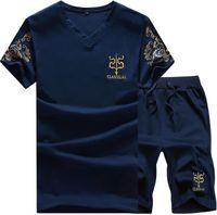Wholesale Large Size Tracksuits - Best gift Summer men 's simple bronzing printing V - neck sports suit large size men' s short sets of T - shirts MT011 Men's Tracksuits