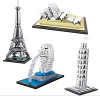 Wholesale Diy Blocks House - LOZ Merlot Architecture Famous Leaning Tower of pisa Blocks Sydney Opera House Model Mini Blocks Diy Eiffel Tower Toys Bricks