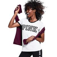 Wholesale Cotton White Shirt Girl - VS Secret Love Pink Women T Shirt 2017 Summer Tumblr Instagram Harajuku Tops Tee Femme Teen Girls Clothing