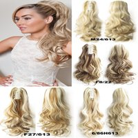 Barato Peruca De Ponytail Longo Encaracolado-Atacado-1PC 22inch 170gSynthetic Long Curly Wavy Claw Drawstring Clip Falso Ponytail extensão de cabelo natural Fake Tress Hairpieces