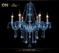 maria theresa lustre azul venda por atacado-Personalidade moderna Cor Azul Luxuoso Maria Theresa Candelabro de Cristal Da Lâmpada Decoração de Casa lampadario Restaurante de iluminação