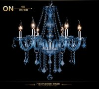 lustre maria theresa bleu achat en gros de-personnalité moderne Luxueux Bleu Couleur Maria Theresa Lustre En Cristal Lampe Décoration de La Maison lampadario Éclairage de restaurant