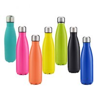 Wholesale Thermal Cups Wholesale - 17oz 500ml Cola Shaped Bottle Insulated Double Wall Vacuum high-luminance Water Bottle Creative Thermos bottle Coke cup
