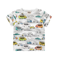 Wholesale Cartoon Tshirt Wholesale - 2-8Y Boys T shirt Clothes Cartoon Cars Printed Kids T-shirt 2017 Summer Little Boy Shirts Children Clothing Tshirt Tops