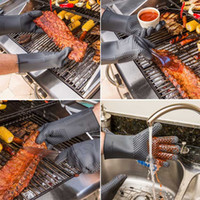 oven mitt apron - Accessories WALFOS piece Heat Resistant extra Long Oven Mitts Barbecue BBQ glove Silicone cooking oven glove tools grill accessories