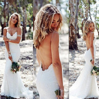 Wholesale Sexy Back Bridal Dresses - Sexy Backless Summer Wedding Dresses Mermaid Spaghetti Straps Full Lace Bridal Gowns Cheap Sweep Low Back BOHO White Beach Wedding Vestidos