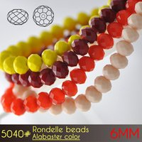Wholesale Making Bead Curtains - China Factory Fashion Crystal Curtain Making of Rondelle Beads 6mm Alabaster Colors A5040 100pcs set of Glass Beads for Jewelry Making