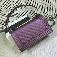 Wholesale Pocket Style Dresses - Dress Style Purple Shoulder Bags for Women High Quality Hard Leather Plaid Mini Flap Shoulder Bags 67086