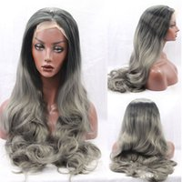 """Wholesale long gray wigs for women - 150% Density Long Wavy Dark Grey Ombre Synthetic Lace Front Wig Part 3-4"""" Gray Color High Quality Heat Resistant For Black Women"""