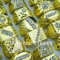Hot Selling Cool Mix Style 10pcs Czech Rhinestones Gold Plated Moda Mens Rings Atacado Jóias Lotes A-047