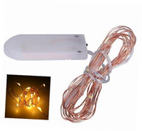 Wholesale Led Lights Battery For Flower - NEW DHL Free Micro copper wire led string lights White coin battery operated 8 colors for clothes flower decoration MYY