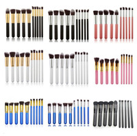 Wholesale Makeup Bag Pcs - Makeup brushes sets 10 Pcs Kabuki Superior Professional Soft Cosmetics Make Up Brush Set Woman's Brush kit Makeup Brushes OPP bag