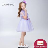 roupa da menina das meninas da menina venda por atacado-Roupas para meninas Crianças roupas de design Roxo de alta qualidade Vestidos Pageant para meninas Girlsdress China fornecedores