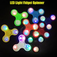 Wholesale Blue Spinning Light - New LED Light Fidget Spinner Luminous Hand Spinning Top finger tips Triangle EDC bearings axis decompress Rotation HandSpinner Tip Toys DHL