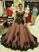 Wholesale Tull Ball - 2017 New Arabic Evening Prom Dresses Cap Sleeve Ball Gowns Tull with Black Applique Bandage Corset Plus Size Formal Party Gowns