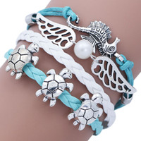 Wholesale Turtle Cute - Antique Silver Cute Turtle Sea Horse Wings Beaded Charm Bracelet Bangle For Women Resizable Fashion Bracelets