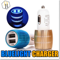 Wholesale Eu Charger Micros Usb - Colorful Led Car Charger 2 ports Cigarette Port 5v 2.1A Micro auto power Adapter Dual USB for Phone 7 plus samsung s7