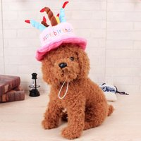 Wholesale Birthday Candle Hat - Creative Dog Birthday Hat With Cake And Candles Design Pets Puppy Cap Cute Dog Hats Birthday Supplies Accessories Headwear DHL Shipping