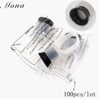 Wholesale Ring Ink Cups - Wholesale-100 PCS Permanent Makeup Disposable Finger Ring Ink Cups With Sponge tattoo Permanent Makeup Accessories