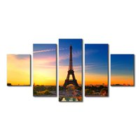 Wholesale paris painting canvas - 5 pcs The Eiffel Tower Landscape Painting Paris Canvas Wall Decor Picture Home Decor Living Room Giclee Prints Modern Art Painting