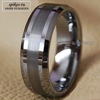 Wholesale Two Toned Tungsten Wedding Bands - Titanium Color Two Tone Tungsten Carbide Wedding Band Men's Ring Bridal Jewelry Free Shipping