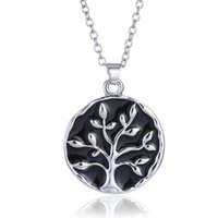 Wholesale used white christmas tree - Fancy Necklace Design Tree Of Life Pendant Friend Necklaces Engraving Antique Letter Design Used As Gift