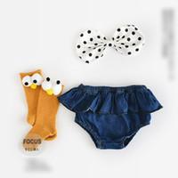 Wholesale Black Lotus Clothing - 2017 Toddler Clothing Baby Underwear Girls Cute Denim PP Shorts Pants Lotus leaf Edge Princess Girl Shorts Solid Cowboy Soft Bottoms A6118