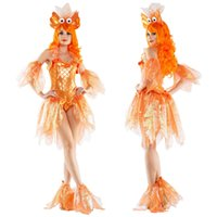 Wholesale Mermaid Adult Halloween Costume - Sexy Bling Mermaid Goldfish Princess Costume Halloween Adult Fancy Dress KM10032
