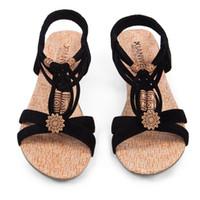 Wholesale Vintage Fabric Sandal - Wholesale-Summer Vintage Women Sandals Gladiator Wedge Woman Shoes Beach Flip Flops Elegant Bohemian Low Wedges Lace Up Women Beach Shoes