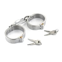 Wholesale Heavy Steel Cuffs - 2017 Newly Heavy Duty Steel Chastity Devices Restraint Slave Wrist Rings Shackles Lock SM Bondage Steel Fetters Hands Bracelet Adult Sex Toy