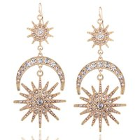 Wholesale Earrings Drop Gold Rhinestone Crystal - 2017 punk star moon Dangle Chandelier Earrings Fashion Boho Vintage Geometry Gold chain Drop Earrings for Women statement Jewelry Wholesale