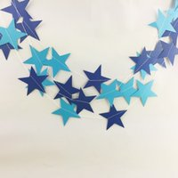 Wholesale Hanging Gold Star - Five Pointed Star String Pearlescent Paper Gold Silver Pull Flower Hanging String Ornament Christmas Wedding Party Decor 2 5bd F