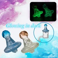 Wholesale Witch Nails - Glow In Dark Witch Hat Carb Cap With Hole Colored Glass Dabber Oil Rigs Quartz Banger Nails Glass Bongs Pipes Dabbers