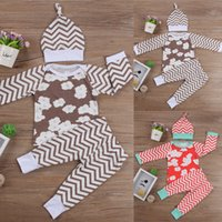 Wholesale Wholesale Chevron Shirts - 2017 Autumn Spring Kids Baby Girls Outfits Clothing Floral Tops T-shirt+Chevron Long Pants +Hat 3PCS Christmas Clothes Set