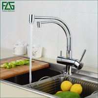 Wholesale Swivel 256 - Wholesale- FLG 100% Copper Chrome Polished Swivel Drinking Water Faucet 3 Way Water Filter Purifier Kitchen Faucets For Sinks Taps 256-33C