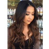 Wholesale European Two Tone Hair - Two Tone Ombre Human Hair Wig Full Lace Human Hair Wigs For Black Women Ombre Lace Front Human Hair Wigs