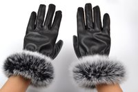 Wholesale Leather Ski Gloves Women - superior Quality Women Winter PU Leather Glove hiking skiing glove Lady Rabbit Fur Warm Gloves For Christmas Gift