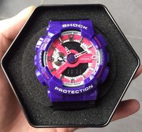 Wholesale Mens Waterproof Swimming Watches - Original Box Bag Mens ga110 sports swim watch G style Auto light 110 100 waterproof Chronograph Watches DropShip