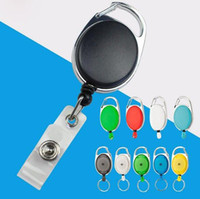 Wholesale Wedding Name Cards - 200 pcs Retractable Pull Key Ring Chain Reel ID Lanyard Name Tag Card Badge Holder Reel Recoil Belt Key Ring Clip