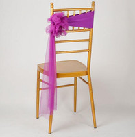 ingrosso ems decor-SME libero DHL 100pcs Fiore Organza Sash Ornament Wedding copertura della sedia elastica Telai Sash Party Banchetto Decorazione Decor colori dell'arco