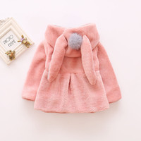 Wholesale Girls Blazer Clothing - New Baby Girl Blazer Jackets Kids Bunny Ear Coats Outerwear Hooded With Pompom Soft Keep Warm Kid Clothing Childrens Toddler Jacket A7372