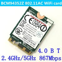 Wholesale Gigabit Card - Wholesale- NEW Broadcom Original WIFI Wireless AC BCM94352Z M.2 NGFF 802.11AC 867 Mbps Bluetooth wifi BT 4.0 Wlan adaptador card BCM94352