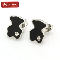 Wholesale White Contracts - Promotional bag mail stainless steel stud earrings Lovely drip contracted teddy bear