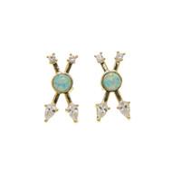 Wholesale fire opal earrings gold - fashion european Criss X design White cz with green fire opal unique fashion classic women ladies 18k gold plated cross earring